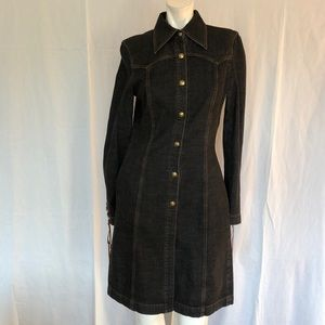 ESCADA Black Denim Shirt Dress Lace-Up detail 34